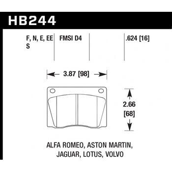 Колодки тормозные HB244N.624 HAWK HP Plus; 16mm