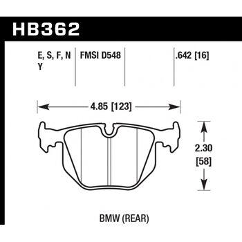Колодки тормозные HB362N.642 HAWK HP+ задние BMW  (E31) / M3 3.2 i E40