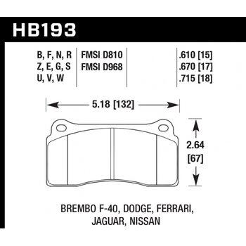 Колодки тормозные HB193Z.670 HAWK PC  Brembo тип B, H, P / Rotora FC4 / Skyline GTR R35