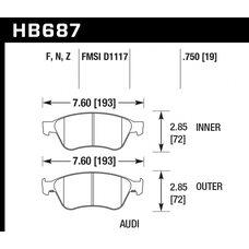 Колодки тормозные HB687N.750 HAWK HP Plus  AUDI S6, S8 2007-2012
