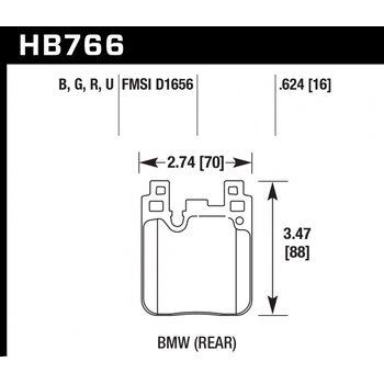 Колодки тормозные HB766R.624 HAWK Street Race; 16mm