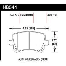 Колодки тормозные HB544R.628 HAWK Street Race задние AUDI TT 8J, A6, Allroad 4H, A3 / VW Golf 5,6 ,