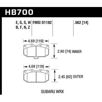 Колодки тормозные HB700F.562 HAWK HPS  перед Subaru WRX