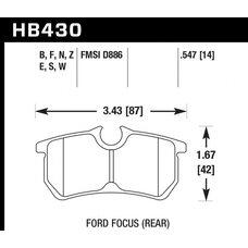 Колодки тормозные HB430F.547 HAWK HPS задние FORD Focus 2.0 RS /  ST170