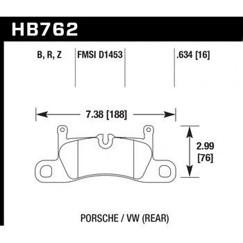 Колодки тормозные HB762F.634 HAWK HPS; 16mm