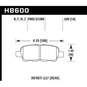 Колодки тормозные HB600N.539 HAWK HP Plus; 14mm