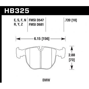 Колодки тормозные HB325R.720 HAWK Street Race; 18mm