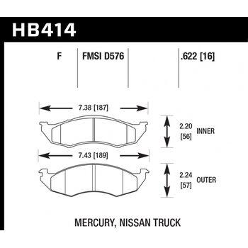 Колодки тормозные HB414F.622 HAWK HPS