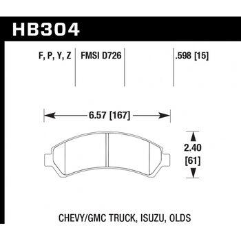 Колодки тормозные HB304P.598 HAWK SuperDuty; 15mm
