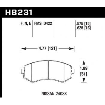 Колодки тормозные HB231F.575 HAWK HPS; 15mm