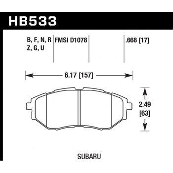 Колодки тормозные HB533R.668 HAWK Street Race; 17mm