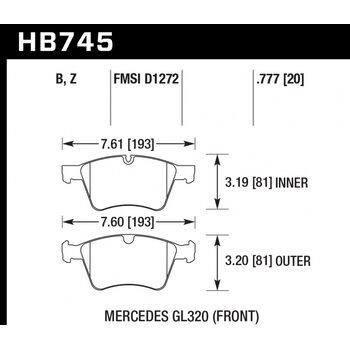 Колодки тормозные HB745Z.777 HAWK PC; 20mm