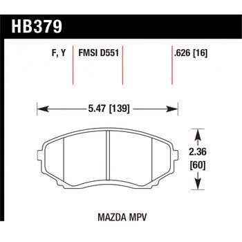 Колодки тормозные HB379F.626 HAWK HPS; 16mm