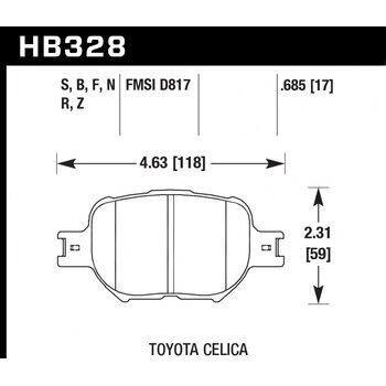 Колодки тормозные HB328R.685 HAWK Street Race; 18mm