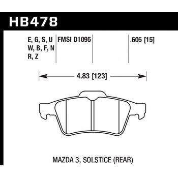 Колодки тормозные HB478F.605 HAWK HPS задние  FORD FOCUS 2 / MAZDA:3, 5