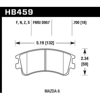 Колодки тормозные HB459N.700 HAWK HP Plus; 18mm
