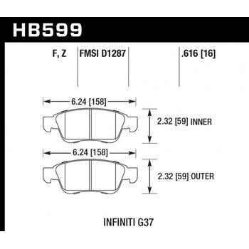 Колодки тормозные HB599Z.616 HAWK PC передние INFINITI G35, G37 (комплектация sport) /  EX35 , EX37