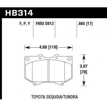 Колодки тормозные HB314Y.665 HAWK LTS