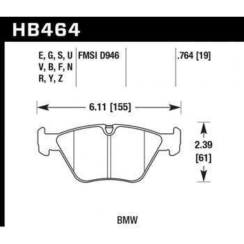 Колодки тормозные HB464Z.764 HAWK PC передние BMW  3' (E46), M3 (E46), 5 (E39), X3 (E83)