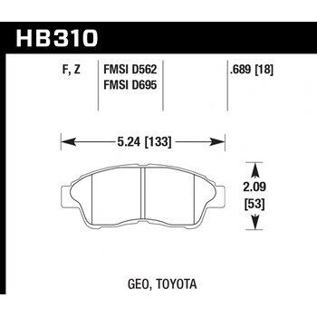 Колодки тормозные HB310F.689 HAWK HPS