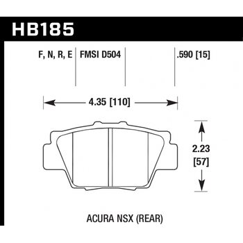 Колодки тормозные HB185R.590 HAWK Street Race; 15mm