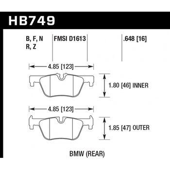 Колодки тормозные HB749Z.648 HAWK PC; 17mm