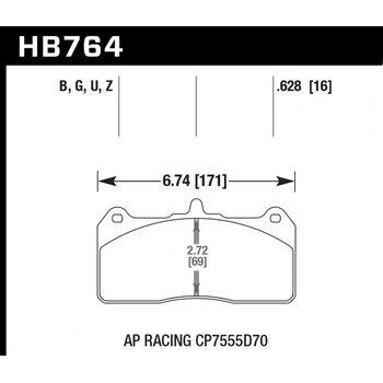 Колодки тормозные HB764Z.658 HAWK PC; 17mm