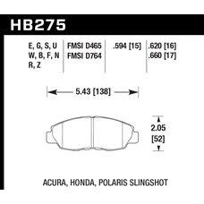 Колодки тормозные HB275R.620 HAWK Street Race передние Honda Civic, Accord