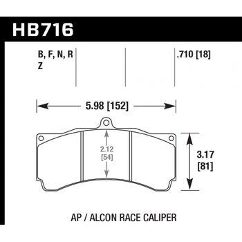 Колодки тормозные HB716R.710 HAWK Street Race; 18mm