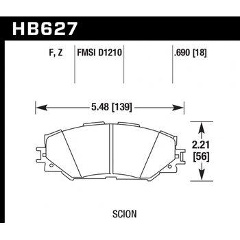 Колодки тормозные HB627Z.690 HAWK Perf. Ceramic  Toyota RAV4 2006-2013