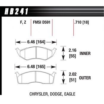 Колодки тормозные HB241Z.710 HAWK PC; 18mm