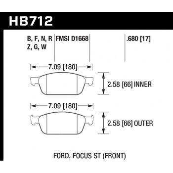 Колодки тормозные HB712R.680 HAWK Street Race; 17mm