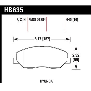 Колодки тормозные HB635Z.645 HAWK PC; 17mm
