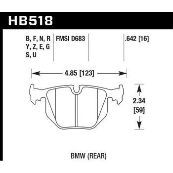 Колодки тормозные HB518Z.642 HAWK PC задние BMW  3' (E46), M3 (E46), 5 (E39), X3 (E83), X5 (E53), M5