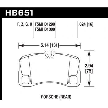 Колодки тормозные HB651Z.624 HAWK Perf. Ceramic  задние Porsche 911 (997) GT2, GT3, Turbo