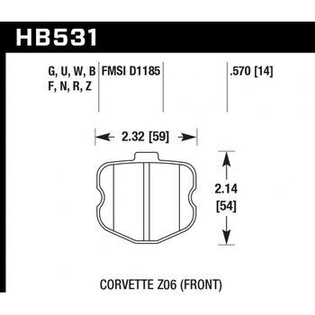 Колодки тормозные HB531N.570 HAWK HP Plus  Corvette Z06 2006-2013