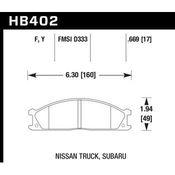 Колодки тормозные HB402Y.669 HAWK LTS