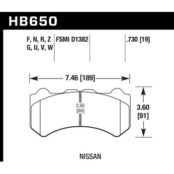 Колодки тормозные HB650Z.730 HAWK PC  передние NISSAN Skyline GTR R35 2008-> ; HPB тип 6;