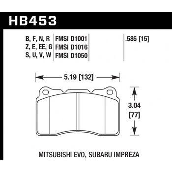 Колодки тормозные HB453B.585 HAWK 5.0 передние MMC Lancer Evo V-X / SUBARU WRX Sti/OPEL INSIGNIA OPC