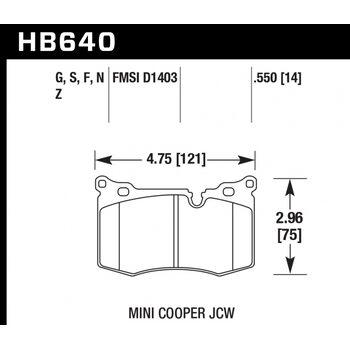 Колодки тормозные HB640F.550 HAWK HPS передние MINI 2009-> JOHN COOPER WORKS