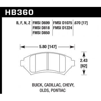 Колодки тормозные HB360N.670 HAWK HP Plus; 17mm