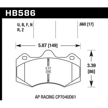 Колодки тормозные HB586Z.660 HAWK Perf. Ceramic  Racing CP7040, CP9040
