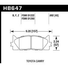 Колодки тормозные HB647Z.692 HAWK PC передние TOYOTA CAMRY 2007->
