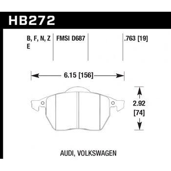 Колодки тормозные HB272F.763A HAWK HPS Audi A3, A3 Quattro, S3 & TT перед