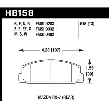 Колодки тормозные HB158R.515 HAWK Street Race