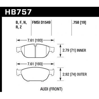 Колодки тормозные HB757Z.758 HAWK PC; 19mm