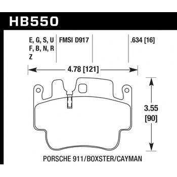 Колодки тормозные HB550R.634 HAWK Street Race; 16mm