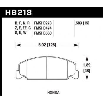 Колодки тормозные HB218R.583 HAWK Street Race передние Honda