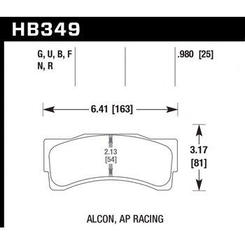 Колодки тормозные HB349R.980 HAWK Street Race; 25mm