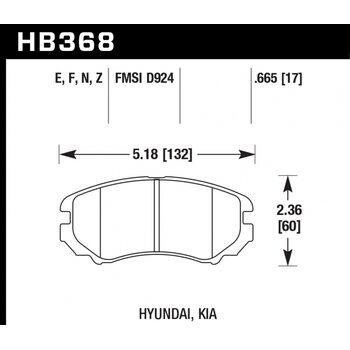 Колодки тормозные HB368N.665 HAWK HP Plus; 17mm